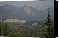 Rail Vehicles Canvas Prints - The Alaska Railroad On A Tall Trestle Canvas Print by Michael Melford