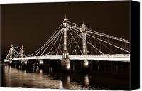 Albert Bridge Canvas Prints - The Albert Bridge London Sepia Toned Canvas Print by David Pyatt