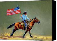Four Corners Canvas Prints - The All American Cowboy Canvas Print by Randy Follis