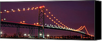 Made In The Usa Digital Art Canvas Prints - The Ambassador Bridge at Night - USA To Canada Canvas Print by Gordon Dean II