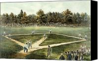 Fielding Canvas Prints - The American National Game of Baseball Grand Match at Elysian Fields Canvas Print by Currier and Ives