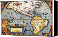 Antique Map Digital Art Canvas Prints - The Americas, 1587 Map By Abraham Ortelius Canvas Print by Fototeca Storica Nazionale