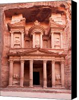 Arab Canvas Prints - The ancient Treasury Petra Canvas Print by Jane Rix
