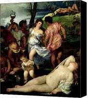 Bacchus Canvas Prints - The Andrians Canvas Print by Titian