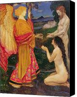 Loss Painting Canvas Prints - The Angel offering the fruits of the Garden of Eden to Adam and Eve Canvas Print by JBL Shaw