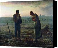  Woman Canvas Prints - The Angelus Canvas Print by Jean-Francois Millet