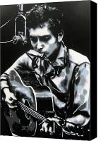 Singer Songwriter Painting Canvas Prints - The answer my friend is blowin in the wind Canvas Print by Luis Ludzska