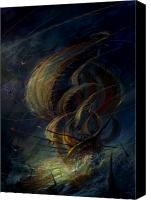 Ships Painting Canvas Prints - The Apparation Canvas Print by Philip Straub