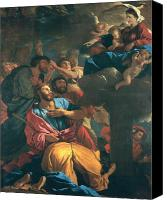 Putti Painting Canvas Prints - The Apparition of the Virgin the St James the Great Canvas Print by Nicolas Poussin