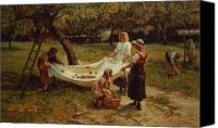 Farm Tapestries Textiles Canvas Prints - The Apple Gatherers Canvas Print by Frederick Morgan