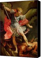 Putti Painting Canvas Prints - The Archangel Michael defeating Satan Canvas Print by Guido Reni