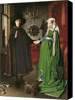 Weddings Canvas Prints - The Arnolfini Marriage Canvas Print by Jan van Eyck