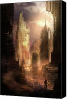 Science Fiction Mixed Media Canvas Prints - The Arrival Canvas Print by Philip Straub