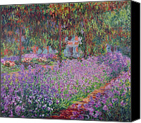 Monet Painting Canvas Prints - The Artists Garden at Giverny Canvas Print by Claude Monet