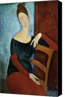 Sat Canvas Prints - The Artists Wife Canvas Print by Amedeo Modigliani