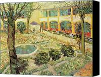 Impressionist Canvas Prints - The Asylum Garden at Arles Canvas Print by Vincent van Gogh