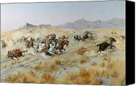 Cowboy Photo Canvas Prints - The Attack Canvas Print by Charles Marion Russell
