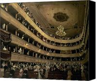 Chandelier Canvas Prints - The Auditorium of the Old Castle Theatre Canvas Print by Gustav Klimt