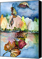 Song Drawings Canvas Prints - The Autumn Leaves Drift By My Window Canvas Print by Mindy Newman
