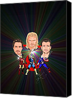 Thor Drawings Canvas Prints - The Avengers C Hemsworth R Downey jr C Evans Canvas Print by Michael Dijamco