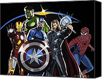 Comic. Marvel Canvas Prints - The Avengers Canvas Print by Darrell Hopkins