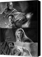 Thor Drawings Canvas Prints - The Avengers Canvas Print by Nat Morley