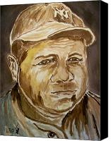 Babe Ruth Painting Canvas Prints - The Babe Canvas Print by Leo Gordon