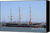 Hyde Street Pier Canvas Prints - The Balclutha . A 1886 Square Rigged Cargo Ship At The Hyde Street Pier in SF California . 7D14069 Canvas Print by Wingsdomain Art and Photography