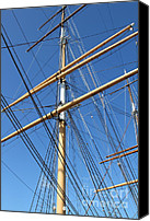 Hyde Street Pier Canvas Prints - The Balclutha . A 1886 Square Rigged Cargo Ship At The Hyde Street Pier in SF . Mast . 7D14158 Canvas Print by Wingsdomain Art and Photography
