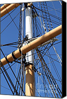 Hyde Street Pier Canvas Prints - The Balclutha . A 1886 Square Rigged Cargo Ship At The Hyde Street Pier in SF . Mast . 7D14159 Canvas Print by Wingsdomain Art and Photography