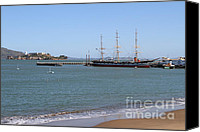 Hyde Street Pier Canvas Prints - The Balclutha . A 1886 Square Rigged Cargo Ship At The Hyde Street Pier Overlooking Alcatraz.7D14068 Canvas Print by Wingsdomain Art and Photography