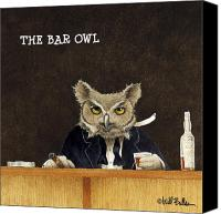 Humorous Canvas Prints - The Bar Owl... Canvas Print by Will Bullas