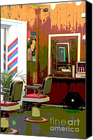 Vintage Photography Canvas Prints - The Barber Shop Canvas Print by Sophie Vigneault