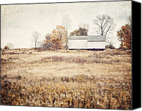 Country Decor Canvas Prints - The Barn on the Hill Canvas Print by Lisa Russo