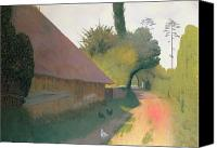 Great Painting Canvas Prints - The Barn with the Great Thatched Roof Canvas Print by Felix Edouard Vallotton