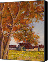 Landscapes Pastels Canvas Prints - The Barns Canvas Print by David Patterson