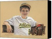 Baseball Pastels Canvas Prints - The Baseball Player Canvas Print by Terry Kirkland Cook