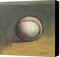Sports Invitations Painting Canvas Prints - The Baseball Canvas Print by Teri Vaughn