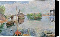 Signac Canvas Prints - The Bateau Lavoir at Asnieres Canvas Print by Paul Signac