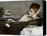 Woman Painting Canvas Prints - The Bath Canvas Print by Alfred George Stevens