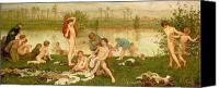 Bathing Painting Canvas Prints - The Bathers Canvas Print by Frederick Walker 