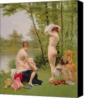 Undressing Canvas Prints - The Bathers Canvas Print by Jules Scalbert