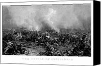 Battle Drawings Canvas Prints - The Battle of Gettysburg Canvas Print by War Is Hell Store