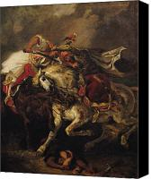 Horsemen Canvas Prints - The Battle of Giaour and Hassan Canvas Print by Ferdinand Victor Eugene Delacroix