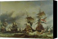 Engagement Painting Canvas Prints - The Battle of Texel Canvas Print by Louis Eugene Gabriel Isabey