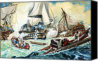 Shipwreck Painting Canvas Prints - The battle of Trafalgar Canvas Print by English School
