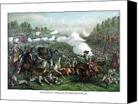 United States Drawings Canvas Prints - The Battle of Winchester Canvas Print by War Is Hell Store