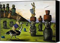 Hare Canvas Prints - The Battle Over Easter Island Canvas Print by Leah Saulnier The Painting Maniac