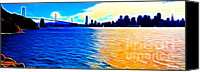 Wide Canvas Prints - The Bay Bridge and The San Francisco Skyline . Panorama Canvas Print by Wingsdomain Art and Photography