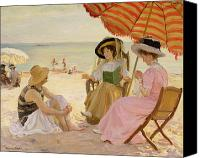Tanning Canvas Prints - The Beach Canvas Print by Alfred Victor Fournier